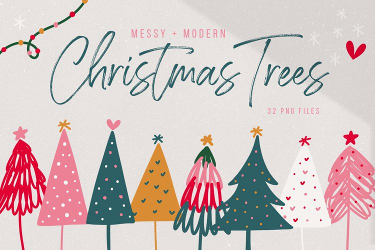 Modern Christmas Trees - Clip Art Collection / Brights