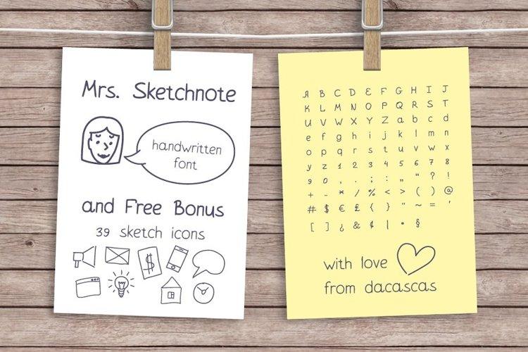 Mrs. Sketchnote Handwritten Font example image 1