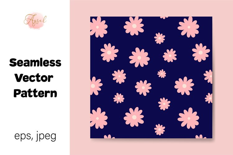 Pink Daisy Flowers Digital Paper, Seamless Pattern example image 1