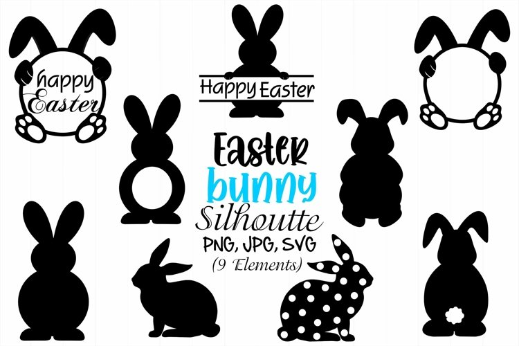 Easter Bunny Silhouette, Easter Bunny SVG, Easter Rabbits example image 1
