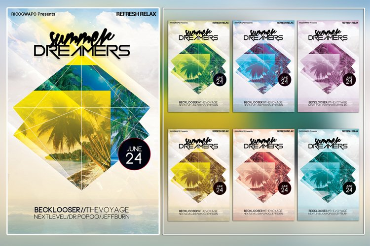 Summer Dreamers Photoshop Flyer Template example image 1