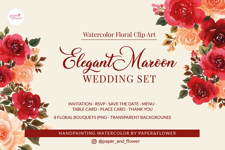 Elegant Maroon Floral Watercolor Wedding Set