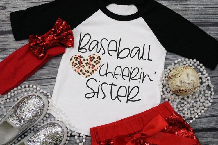 Leopard Baseball Heart - Baseball Cheerin' Sister SVG example image 1