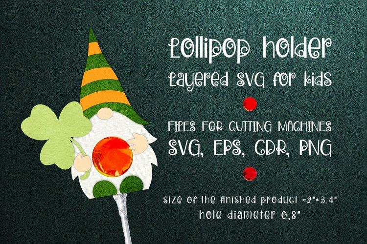 Saint Patricks Gnome - Lollipop Holder template SVG