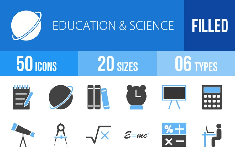 50 Education & Science Filled Blue & Black Icons example image 1