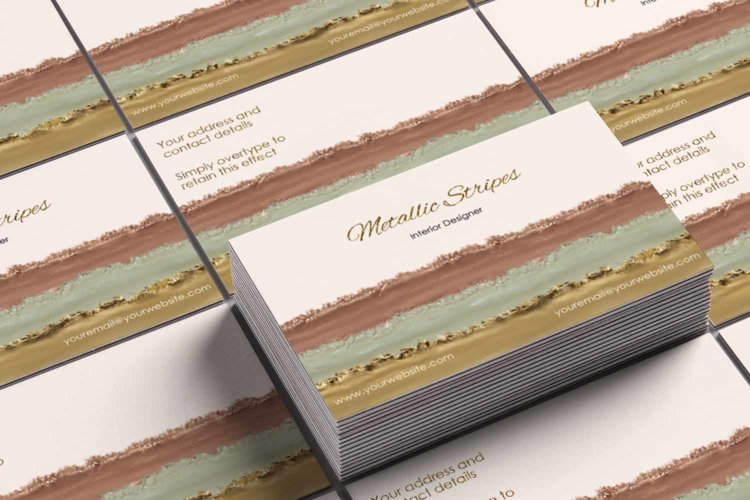 Metallic Rose Gold, Gold and Silver Business Card Template example image 1