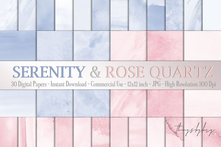 30 Ombre Serenity & Rose Quartz Watercolor Digital Papers example image 1