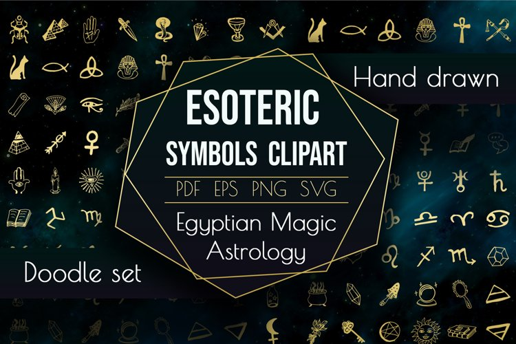 Esoteric Symbols Clipart. Spiritual Sacred Magic Elements example image 1