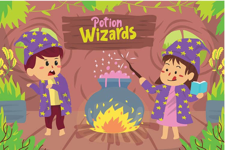 Potion Wizards kids - Vector Illustration example image 1