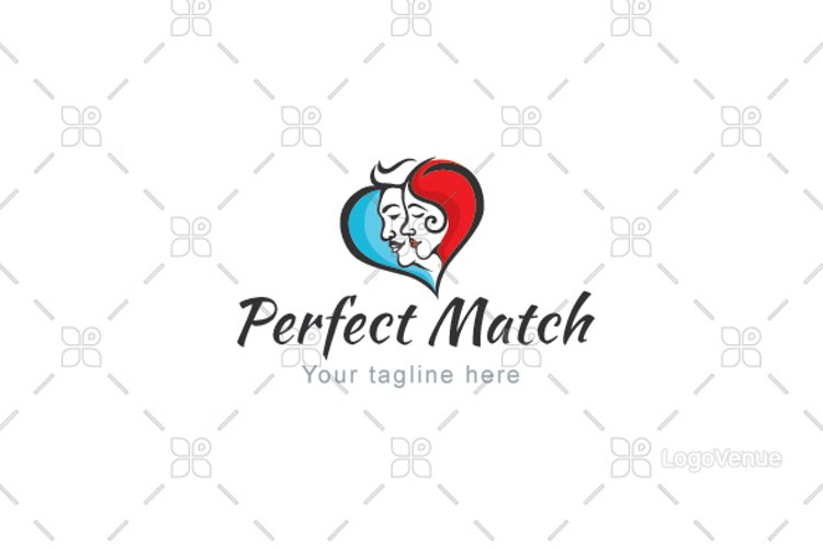 Perfect Match - Matrimony Couple Logo Template example image 1