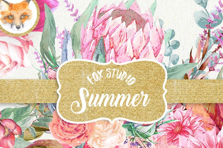 Watercolor clipart Summer Hand painted watercolor pink