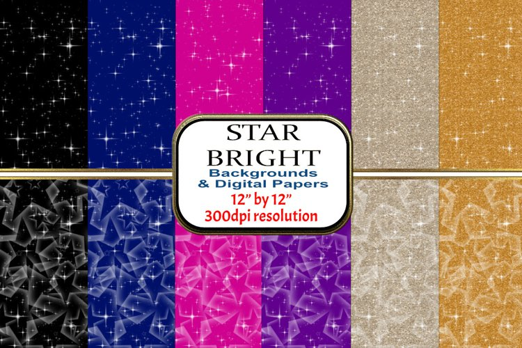 "2 Designs of 6 colours - 12"" x 12"" - Star Bright Set example image 1"