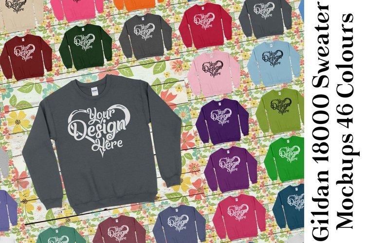 Gildan 18000 Mockup Sweater Mock Up Black White Grey 968 example image 1