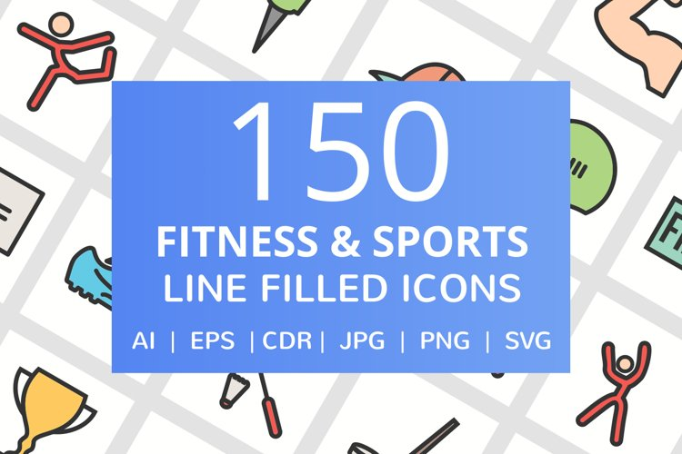 150 Fitness & Sports Filled Line Icons example image 1
