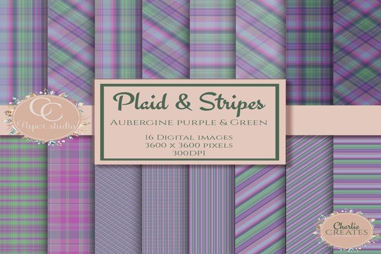 Digital paper - Plaid tartan - Purple and green example image 1