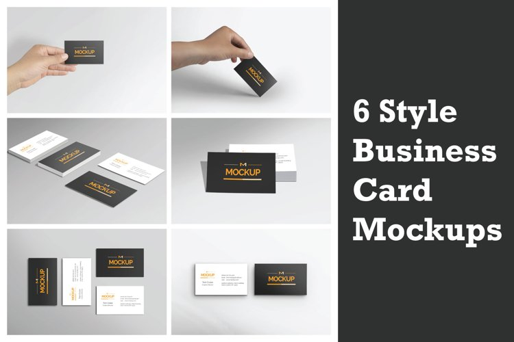6 Style Business Card Mockups example image 1