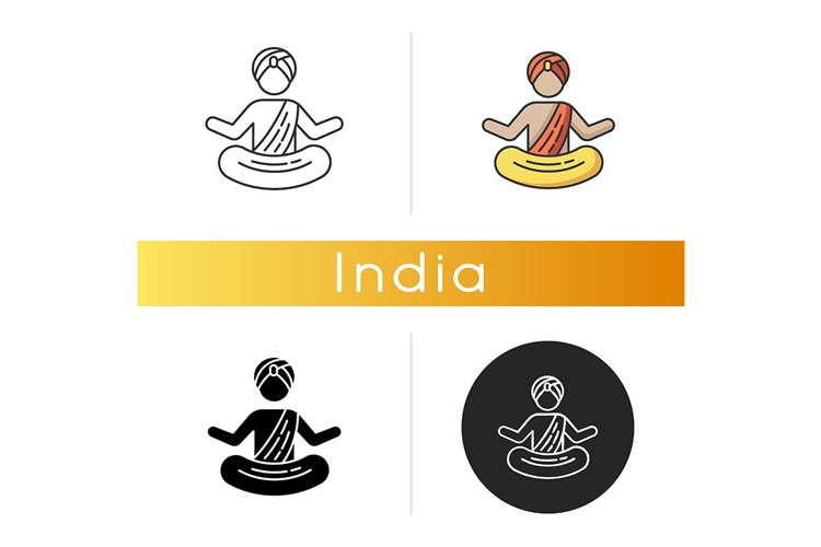 Yogi in turban icon example image 1
