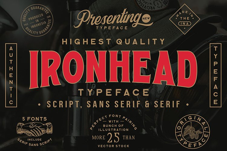 Ironhead Font Collection example image 1