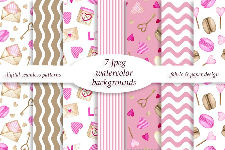 Valentine watercolor patterns