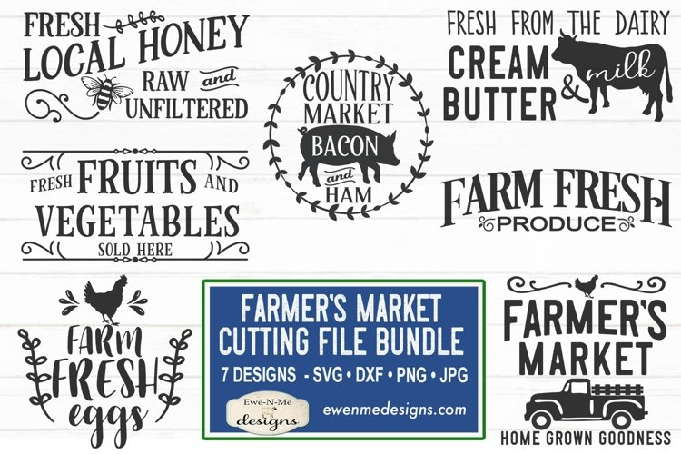Farmers Market Bundle | Cow Pig Chicken | Produce SVG example image 1