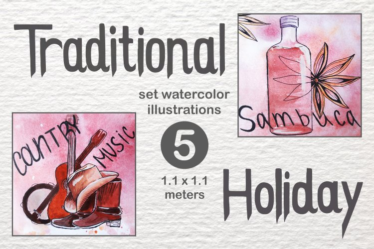 Traditional holidays in the USA Watercolor Size 1.1 meters example image 1