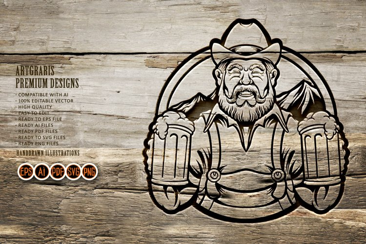 Farmer Silhouette with two glass beer illustrations