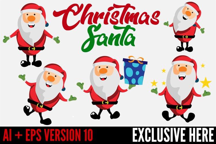5 Christmas Santa Vector Characters