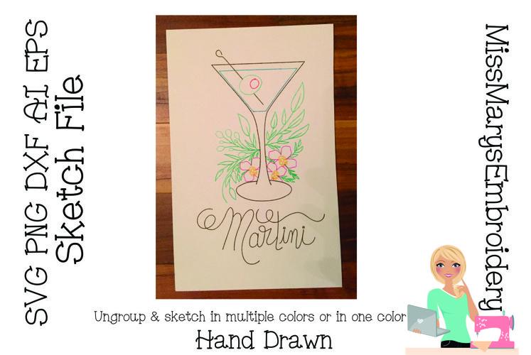 Sketch Martini| Foil Quill SVG | Sketch File SVG | Martini