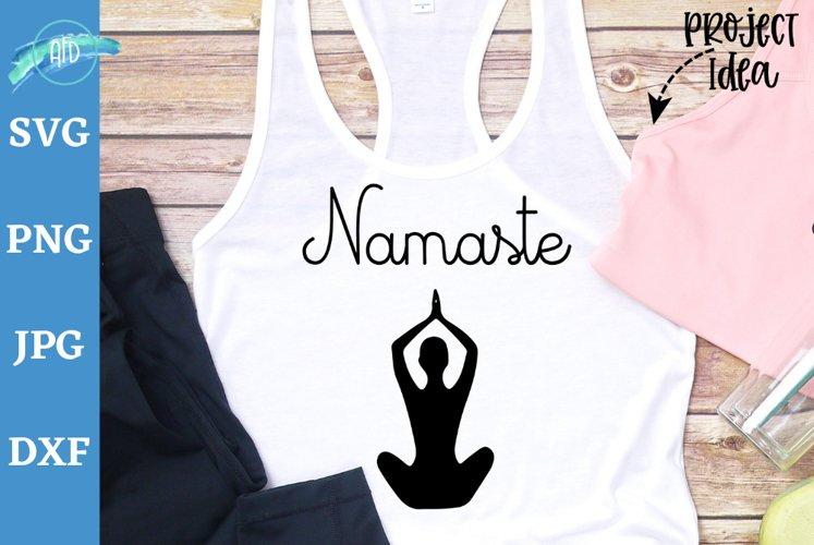 Namaste svg cut file, Yoga pose svg, Yoga shirt, Yoga tank example image 1