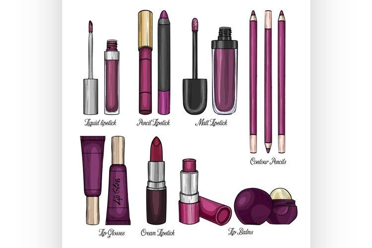 Set of lipsticks and lip glosses example image 1