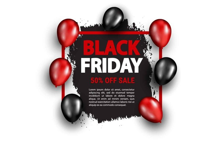 Black friday sale banner with balloons example image 1