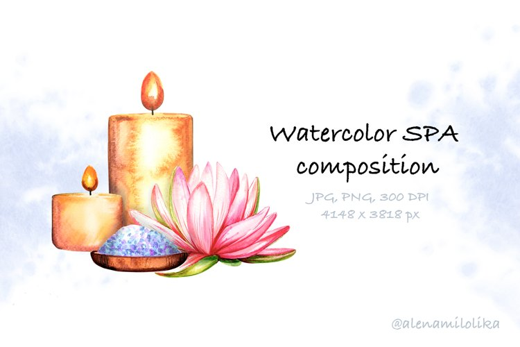 Watercolor SPA card. Candles and lotus. Relax