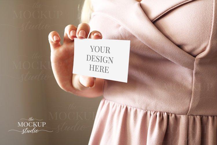 Woman Holding Card Mockup, Invitation Mockup, PinkDress example image 1