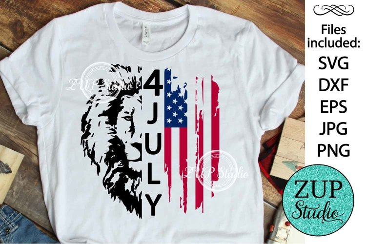 Lion with USA Flag Design Digital Cutting files 505 example image 1