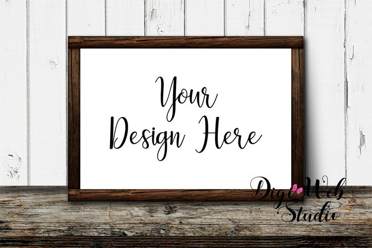 Wood Sign Mockup - Wood Frame on Distressed Rustic Shelf example image 1