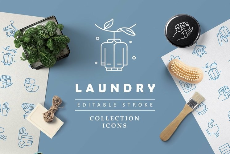 Laundry & dry clinning icons & logos