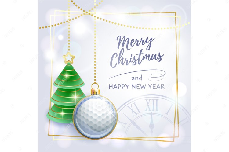 Merry Christmas. Happy New Year. Greeting card. Golf. example image 1