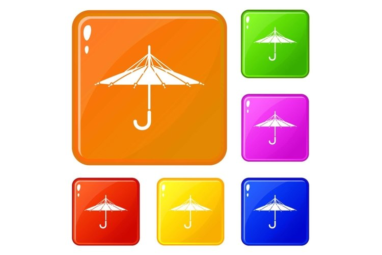 Inside out umbrella icons set vector color example image 1