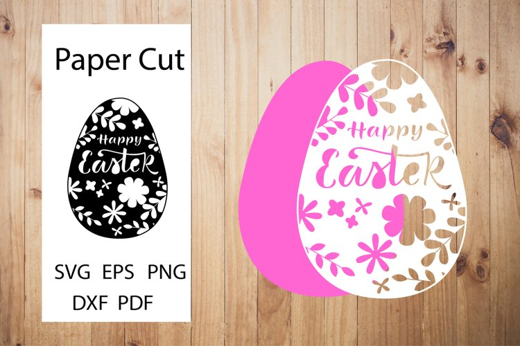Happy Easter SVG. Easter Papercut Template.Egg Paper Cut SVG example image 1