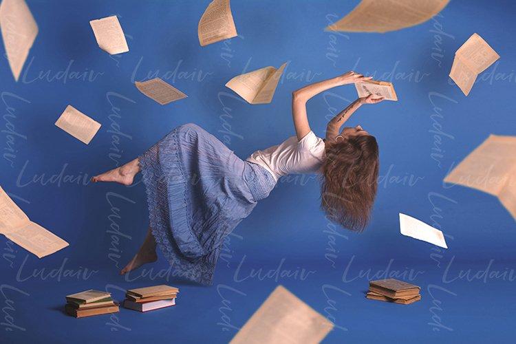 Surreal creative design, levitation. Flying woman. example image 1