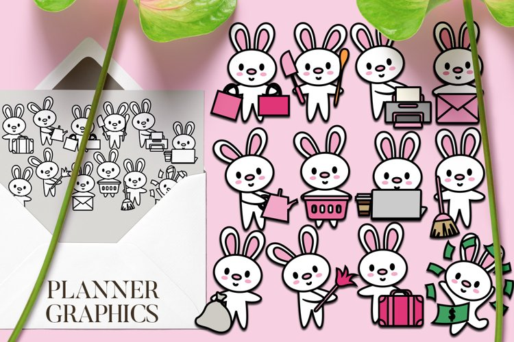 Bunny Planner Activities Graphic Illustration