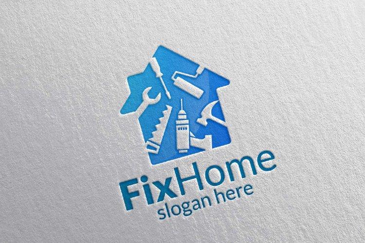 Real Estate Logo, Fix Home Vector Logo Design