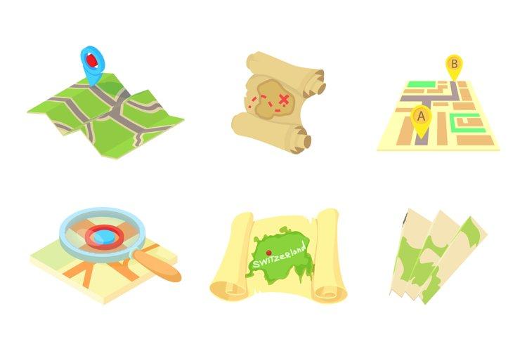 Maps icon set, cartoon style example image 1