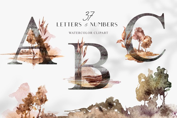Watercolor Alphabet clipart. Floral letters and numbers