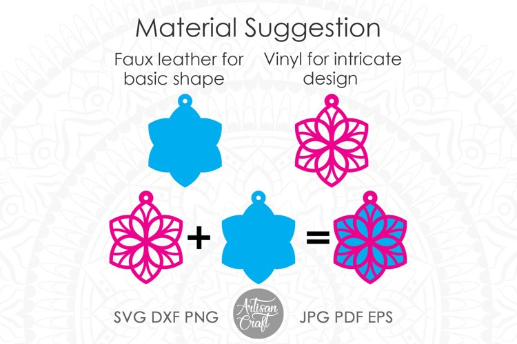 Earring template SVG, Floral earrings SVG example 3