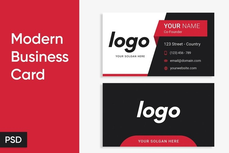 Modern Business Card Template With 3 Colors - PSD