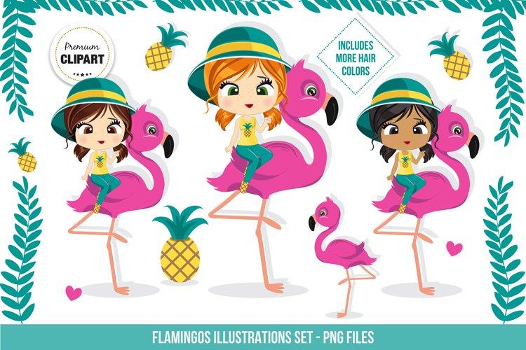 Flamingo graphics, Summer illustrations example image 1