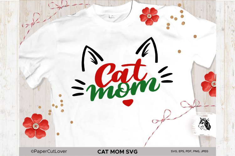 Cat Mom SVG Cat Mama SVG Cat Face SVG Cat mom with cat face example image 1