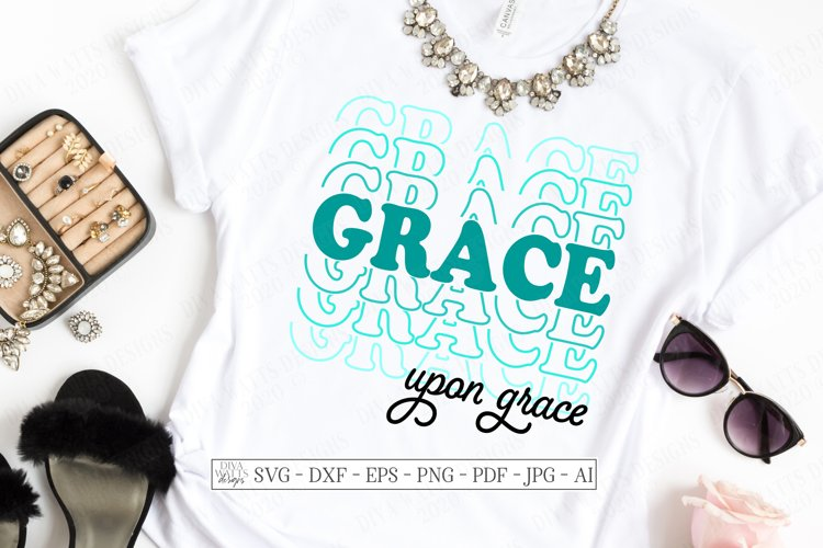 Grace Upon Grace - Christian - Stacked Mirrored - SVG DXF AI example image 1