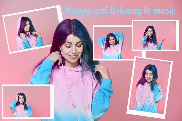Girl listening to music on headphones on a pink background example image 1